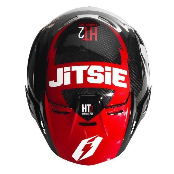 JITSIE Hjelm HT2 FLOW - sort/rød-3193
